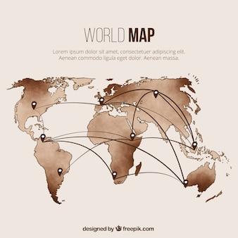 世界地図テンプレートとピン