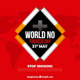 World no tobacco day background with cigarettes rhombus shape