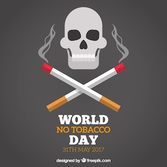 World no tobacco day background with skull and cigarettes