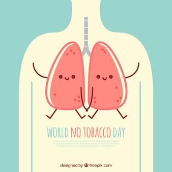 世界のたばこの日肺のイラスト