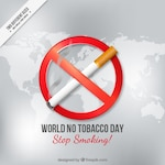World no tocacco day with a cigarette on a map background