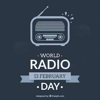 World radio day background in blue color