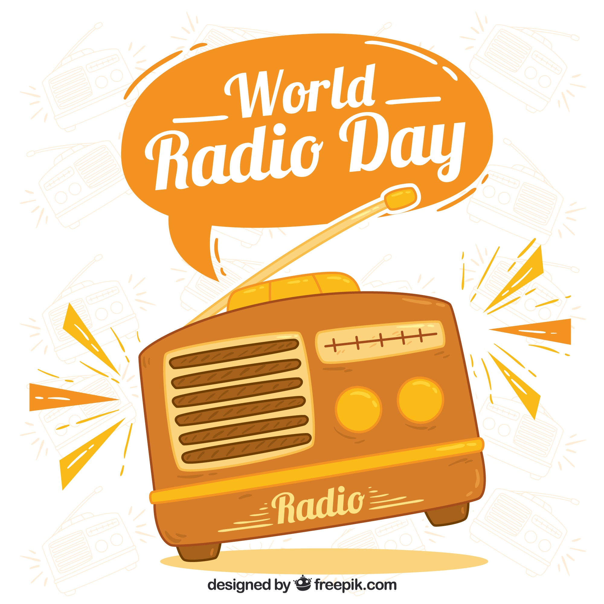 World radio day background in orange tones