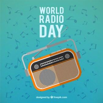 World radio day background in retro style