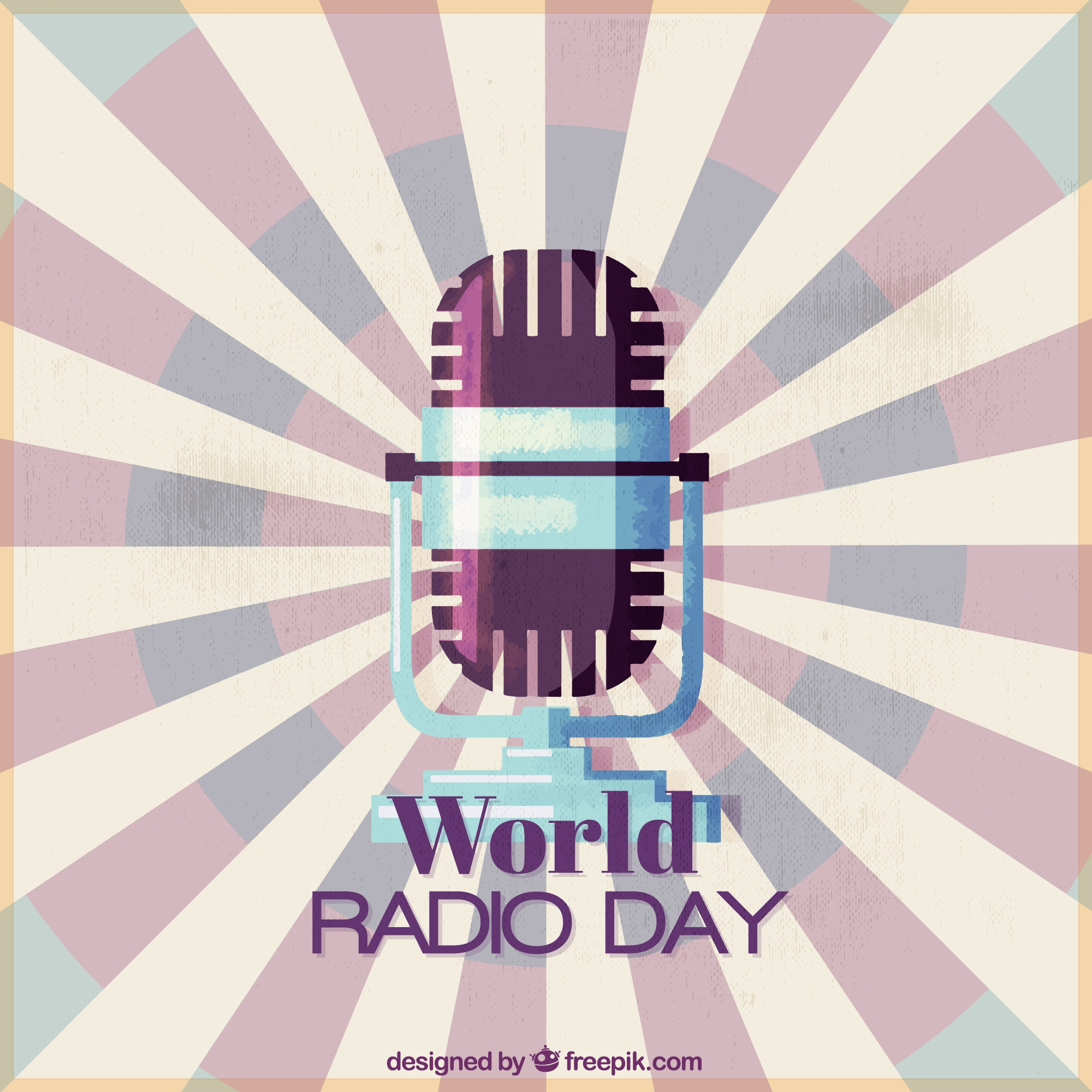 World radio day background with microphone in vintage style