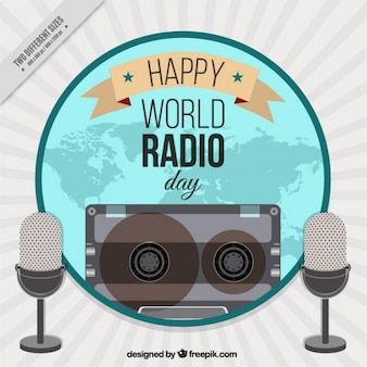 World radio day background with microphones