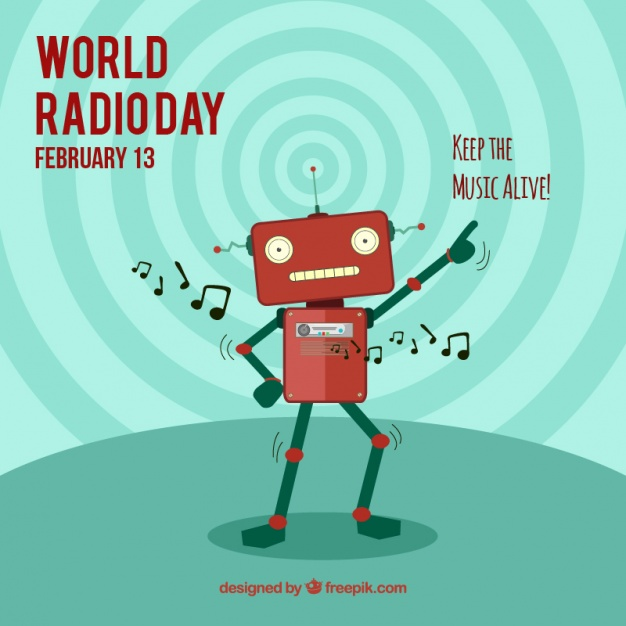 World radio day background with robot dancing
