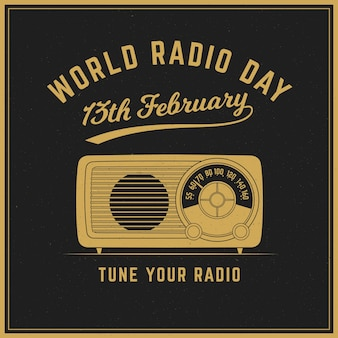 World radio day vintage background