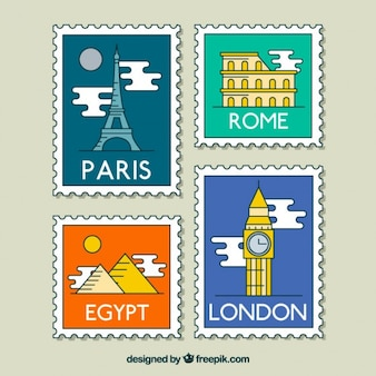 World symbolic places stamps collecion