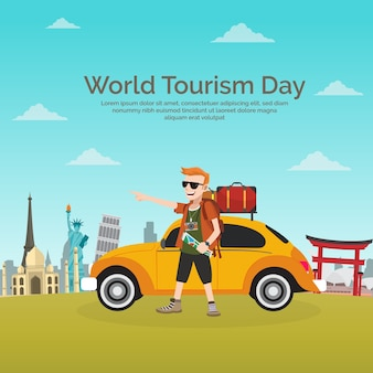 World tourism day, a gentleman traveling in a yellow car