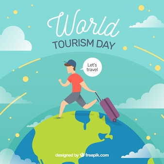 World tourism day, a man traveling around the world