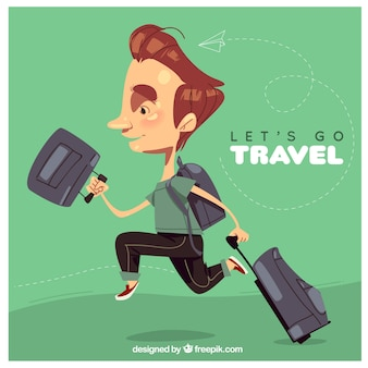 World tourism day, a man traveling the world