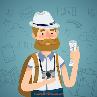 World tourism day, a man traveling
