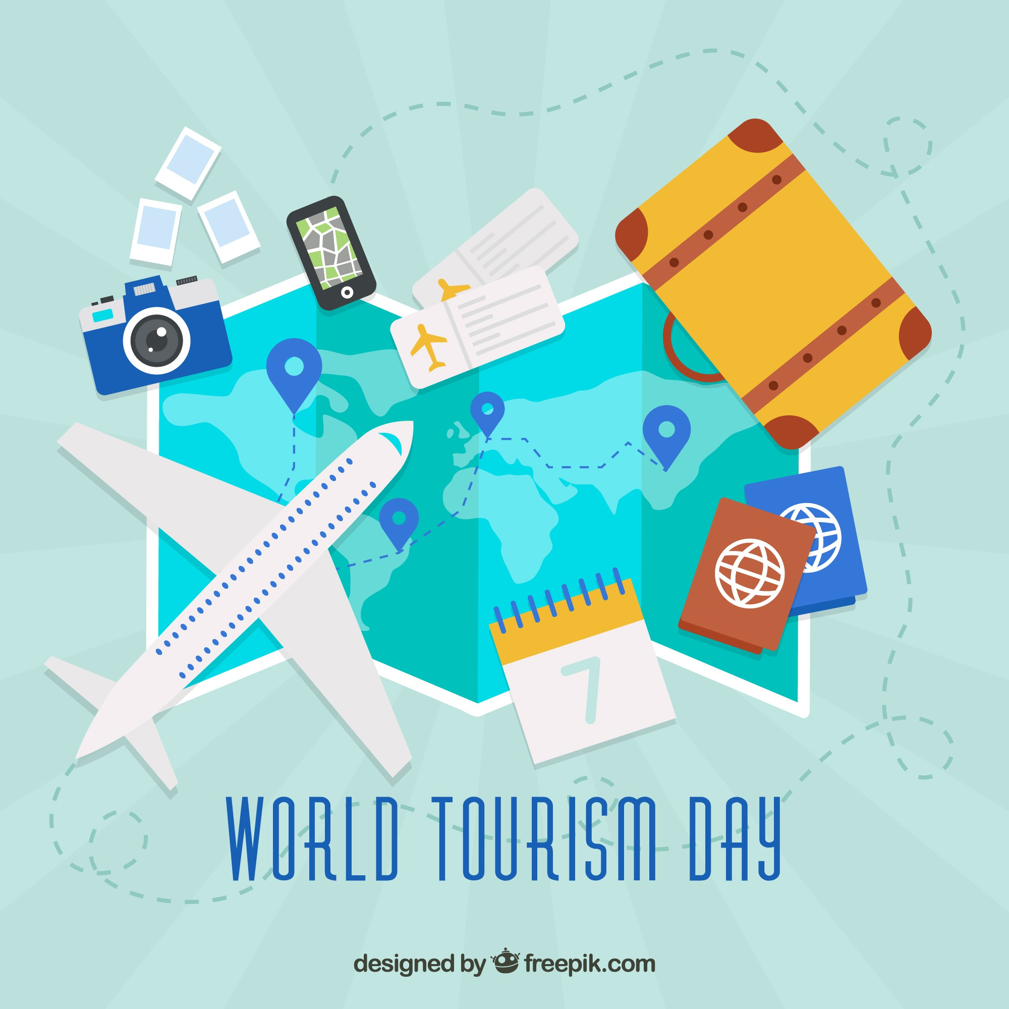 World tourism day, a plane on a map