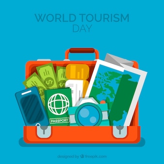 World tourism day, a suitcase full of things