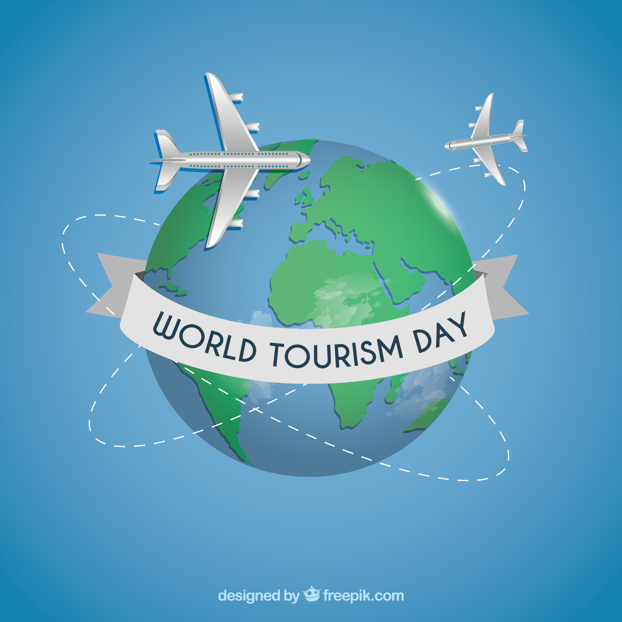 World tourism day background with earth globe