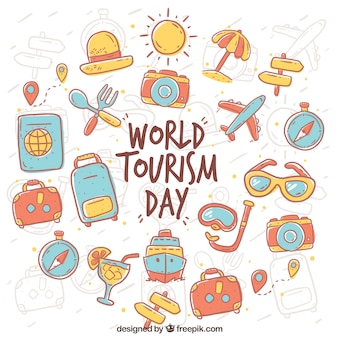 World tourism day, hand-drawn items