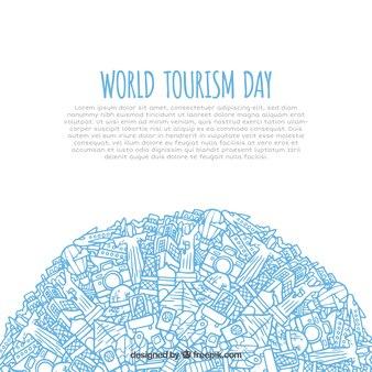 World tourism day, hand drawn style