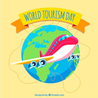 World tourism day, plane cartoon style
