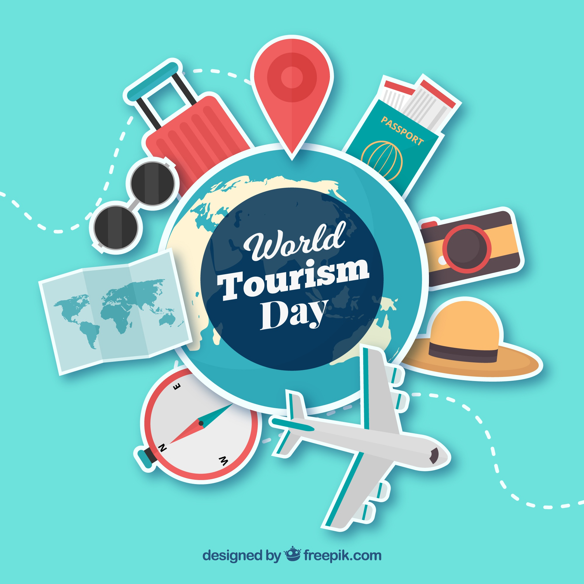 World tourism day, stickers