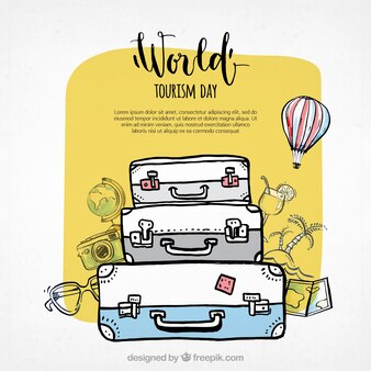 World tourism day, three suitcases