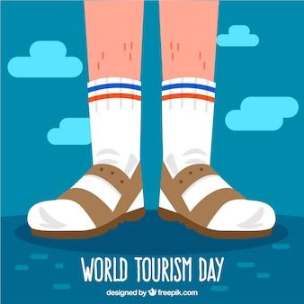 World tourism day, tourist feet