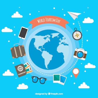 World tourism day, travel elements around the world