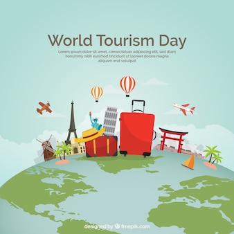 World tourism day, travel elements on the planet earth
