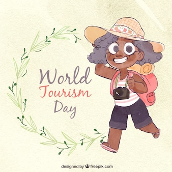 World tourism day, watercolor background with a girl traveling