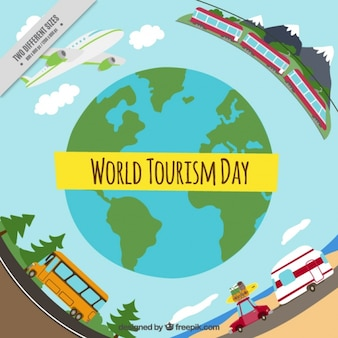 World tourism day with different transports