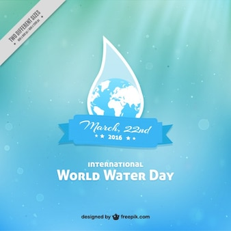 World Water Day background with globle in drop