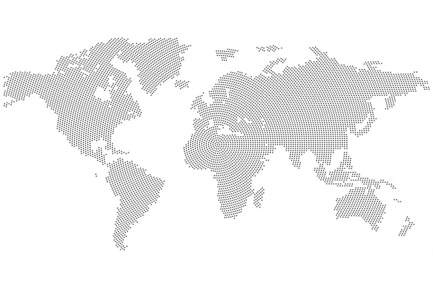 World maps with solid gray and white areas | Outline world map images