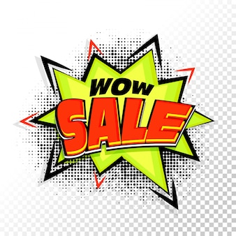Wow Sale lettering on pop art style background.