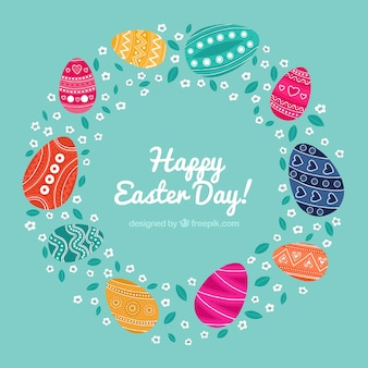 Wreath background with easter eggs