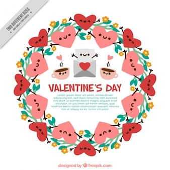Wreath background with nice valentine hearts