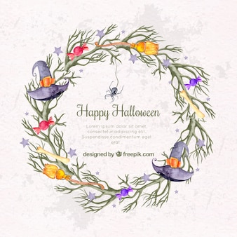 Wreath background with witch hat and other watercolor elements