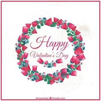 Wreath of happy valentine's roses