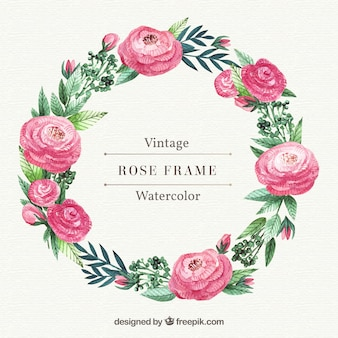 Wreath of roses and watercolor leaves