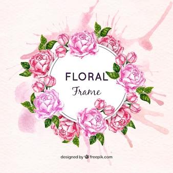 Wreath of watercolor roses