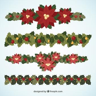 Wreaths decorative set with poinsettias
