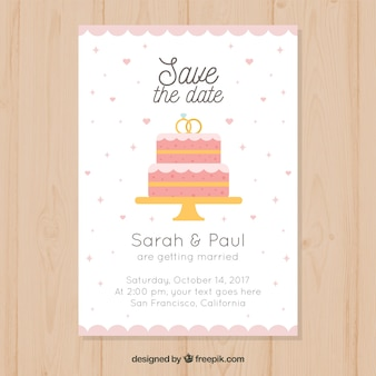 Wwdding invitation with cake