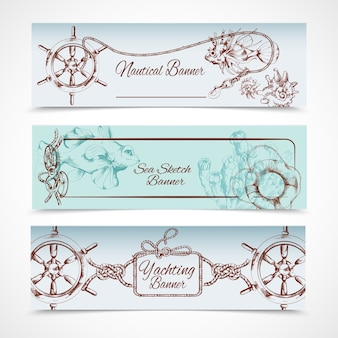 Yachting ocean nautical sketch horizontal banner set with steering wheel fish horse isolated vector illustration