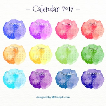 Year 2017 calendar with watercolor stains