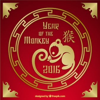 Year of the monkey on a red and golden background
