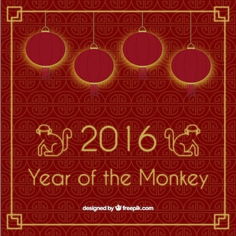Year of the monkey red background