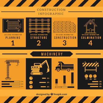 Yellow and black construction infography in flat design