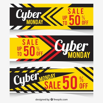 Yellow and black cyber monday banners