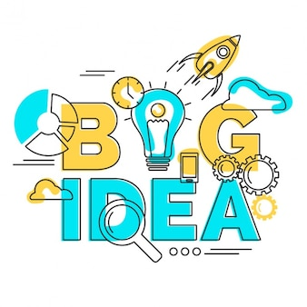 Yellow and blue background of big idea