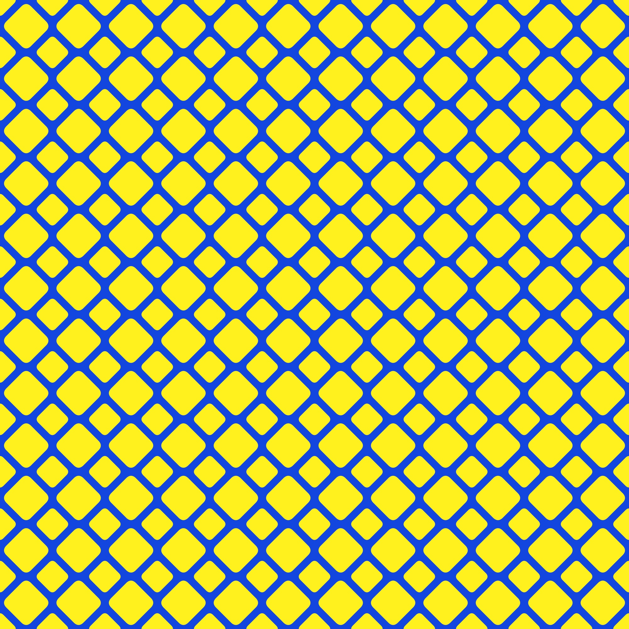 Yellow and blue seamless rounded square grid pattern background - vector graphic