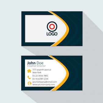 Yellow and dark business card